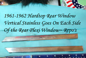 Corvette 1961 1962 Pair Hardtop Stainless Vertical Rear Window Outer Trim