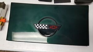84 96 Corvette C4 Gas Fuel Door With Hinge Assembly Green With Emblem Coupe