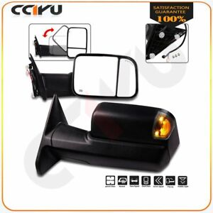 Tow Mirrors Pair For 09 17 Dodge Ram 1500 3500 Power Heated Turn Signals Puddle