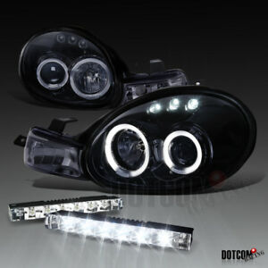 Glossy Black Dodge 2000 2002 Neon Halo Projector Smoke Headlights W Led Drl Fog