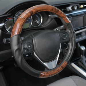 Acdelco Strong Grip Premium Smooth Pu Leather Steering Wheel Cover Dark Wood