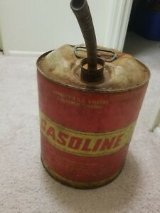 Old Vintage Huffy 5 Gallon Gasoline Gas Can Collectible Metal Can Good Condition