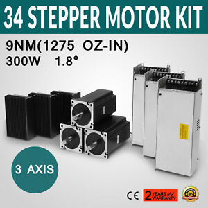 3 Axis Cnc Kit 1275oz in Nema 34 Stepper Motor Dm860d Driver Cnc Plasma Mill
