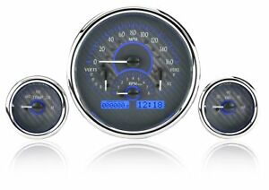 Triple Round Universal Vhx System Carbon Fiber Style Face Blue Display
