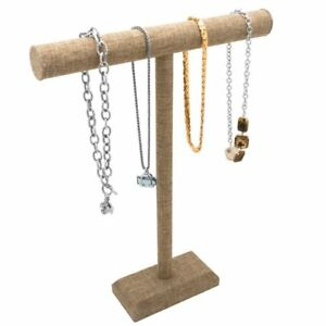 Tall Burlap T bar Necklace Or Chain Display