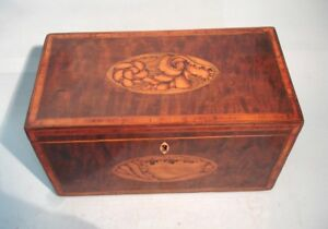 Antique English Georgian Sheraton Inlaid Burr Yew Box Fine Quality