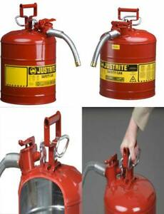 New 5 Gallon Fuel Safety Can Type Ii Flexible Hose Galvanized Steel Gas Oil Red
