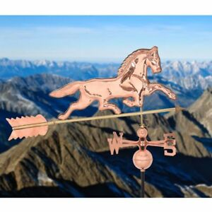 Polished Outdoor Roof Mounted Copper Horse Wind Weather Vane Adjustable Mount