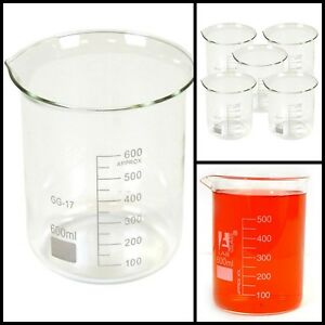 Borosilicate Chemistry Laboratory Glass Beaker Measuring Glassware 600ml Clear