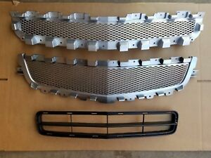 New 2008 2012 Malibu Front Bumper Upper Center Lower Silver Grille Insert Set