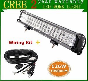 1pcs 20inch 126w Flood Spot Combo Led Work Light Bar 4wd With Wiring Harness