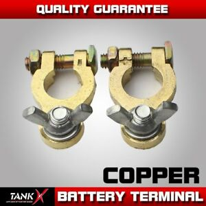 Pair Top Post Universal Car Battery Terminal Clamp Clips Wing Nuts Copper Brass