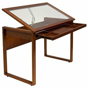 Ponderosa Home Office Furniture Glass Topped Table In Sonoma Brown 13280