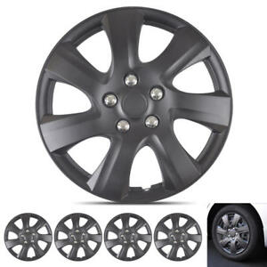 Set Of 4 Hub Caps Highest Grade Abs Material Car Wheel Covers Matte Black