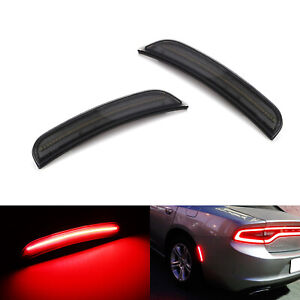 Smoked Lens Rear Red Led Side Marker Lights Assembly For 2015 up Dodge Charger