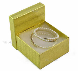 Lot Of 100 Gold Cotton Filled Box Jewelry Box Party Box Large 3 3 4 X 2 h Boxes