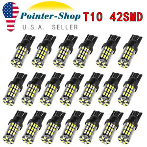 20x Pure White T10 42 smd 3014 Led Interior License Map Dome Light Bulbs 912 921