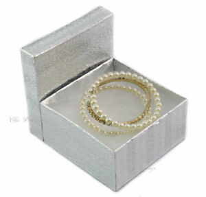 100pc Silver Cotton Filled Boxes Bangle Gift Boxes Jewelry Gift Boxes 2 h