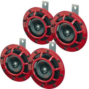Hella Red Super Tone Dual Car Horn 12v 118db Loud Authentic Brand New 4 Pack