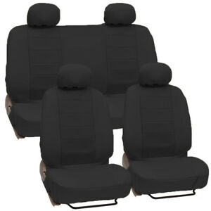 Black Motor Trend Premium Pu Leather Car Bucket Bench Seat Cover Front Rear