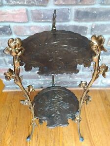 Antiqu Art Nouveau Brass Fern Plant Stand Bearded Iris Hall Table Indoor Outdoor
