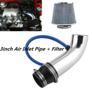 3 Inch Silver Car Cold Air Intake Filter Alumimum Induction Kit Pipe Hose System