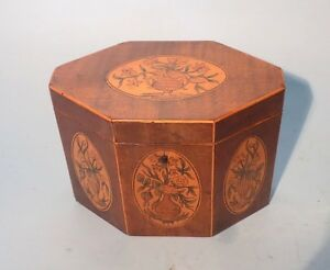 Antique English Georgian Harewood Tea Caddy Finest Quality Inlaid Panels