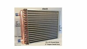 Water To Air Heat Exchanger 15x15 1 Copper Ports W Ez Install Front Flange