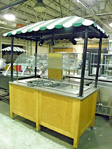 Custom Made Four Well Refrigerated Mobile Kiosk Salad Cold Bar Buffet Display