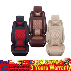5 seats Cooling Comfort Ice Mesh pu Leather Car Seat Covers Front rear W pillows