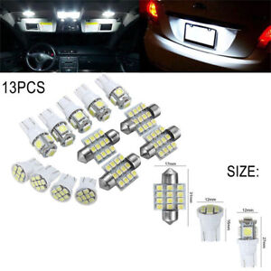 13x Car White Led Lights Kit For Stock Interior Dome License Plate Lamps New