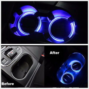2x Solar Power Cup Holder Bottom Pad Blue Led Light Cover For Auto Car Suv Truck