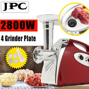 Electric Meat Grinder Mincer 2800w Sausage Stuffer Luxury Red Stainless Steel Us