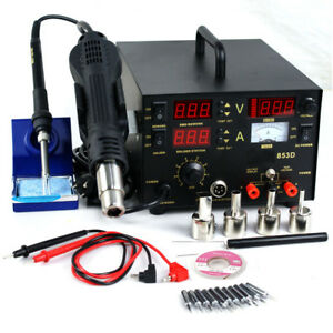853d 3in1 Smd Esd Rework Soldering Station Iron Hot Air Gun Dc Power Supply 110v