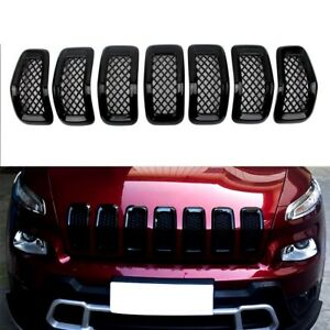 Front Grille Cover For 2014 2015 2016 2017 2018 Jeep Cherokee Mesh Gloss Black