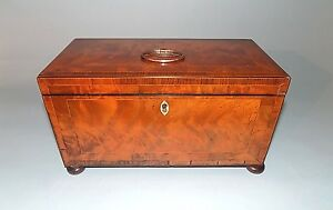 Antique English Georgian Mahogany Tea Caddy Finest Quality Fitted Interior