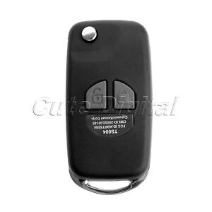 Remote Flip Folding Key Shell Case Fob With 2 Buttons Rubber Pad For Suzuki Sx4