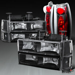 1994 1998 Gmc C10 Sierra Pickup Black Clear Headlights Bumper Lights tail Lamps