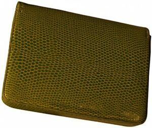 Budd Leather Lizard Printed Leather Business Card Case X large Lime Green