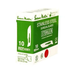 Swann Morton No 10 Stainless Steel Scalpel Blades Box Of 100 New Dated 2022