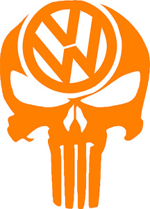 Volkswagen Vw Punisher Skull Vinyl Decal 12 Colors 3 Size Jetta Golf Passat