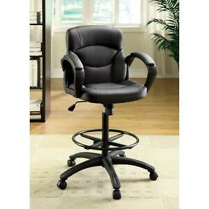 Drafting Counter Height Adjustable Office Computer Desk Chair High Back Leather