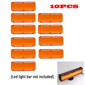 10pcs Snap On Amber Lens Cover For 7 36w 12 72w 22 144w 108w Led Light Bars