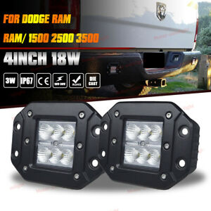 For Dodge Ram 1500 2500 3500 Flush Mount Flood Backup Reverse Bumper Led Lights