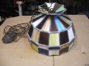 Vintage Stained Glass Hanging Ceiling Light Fixture Collectible Decore Pool