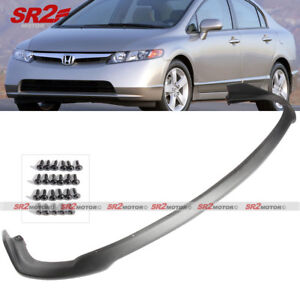 Front Body Bumper Pu Lip Kit Spoiler Cs Style Fits 2006 2008 Honda Civic Sedan