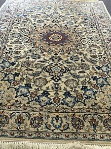 Vtg 52 X82 Authentic Original Persian Naein Rug Hand Knotted Silk