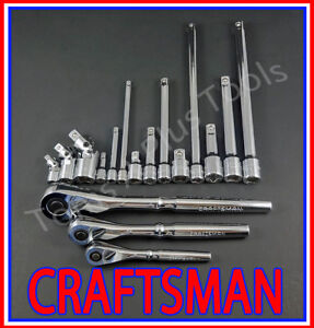 Craftsman 17pc Lot 1 4 3 8 1 2 Ratchet Wrench Socket Extension Universal Set