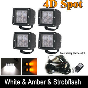 4x 4d 3inch Led Work Light Cube Pods Kit White amber strobe Dual Color Rf Remote
