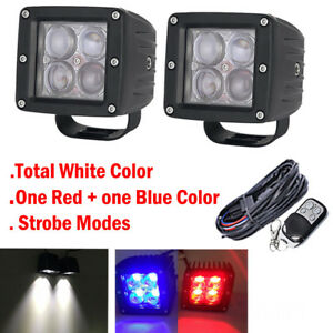 2x 3 4d White Red Blue Dual Colors Led Work Light Offroad Warning